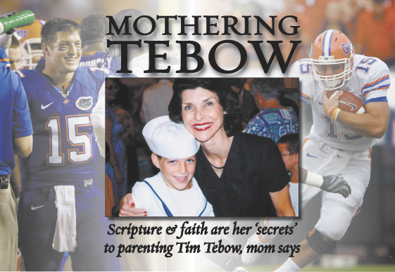 University of Florida starting quarterback Tim Tebow and his mom, Pam, pause after a children's production at First Baptist Church in Jacksonville where they are members.